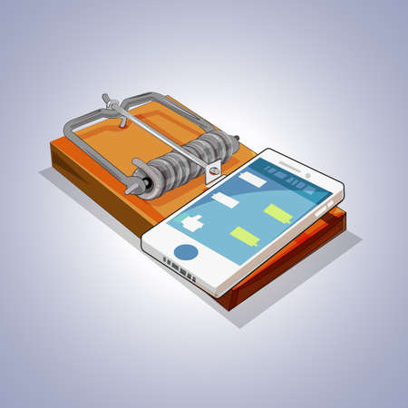 Mouse trap with mobile phone. social media and  internet addiction concept - vector illustration