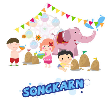 sonkarn festival in Thailand, Thai new year - vector illustration