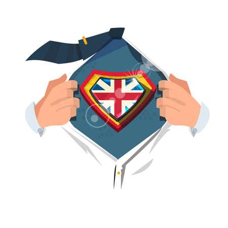 """slimme man open shirt om te laten zien """"Verenigd Koninkrijk vlag"""". Union Jack-concept - vectorillustratie"""