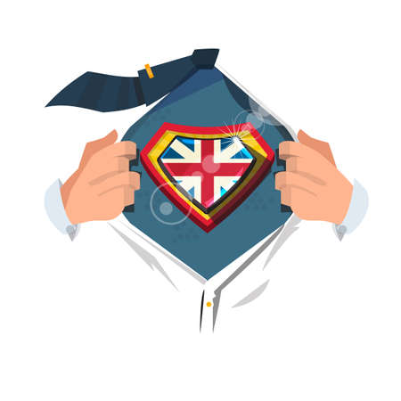 smart man open shirt to show United Kingdom flag. Union Jack concept - vector illustration 向量圖像