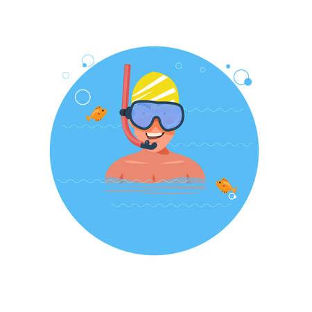 シュノーケ リングの男。キャラクター デザイン - ベクトル図 写真素材 - 85572134