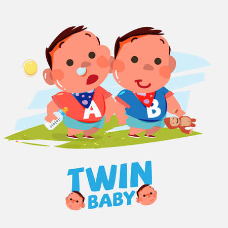 twin babies boy in various acting - vector illustration