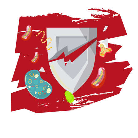 Escudo roto del sistema inmune con virus y bacterias Foto de archivo - 85572175