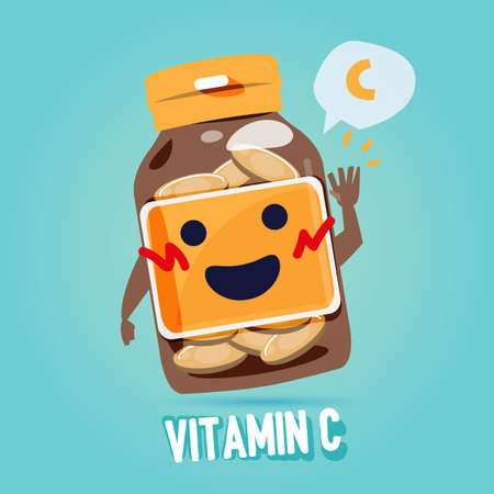 bottle of vitamin c with cab character design. benefit of vitamin concept - vector illustration
