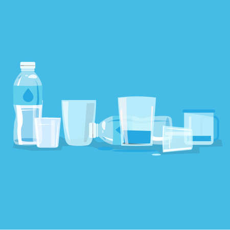water glass and bottle - vector illustration