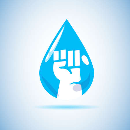 fist hand inside water drop. save water concept - vector illustration Illustration