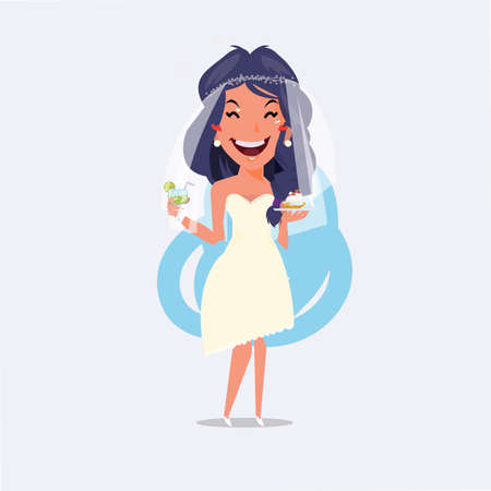 Beautiful bride character holding cocktail and cupcake in her hand. Wedding party concept - vector illustration