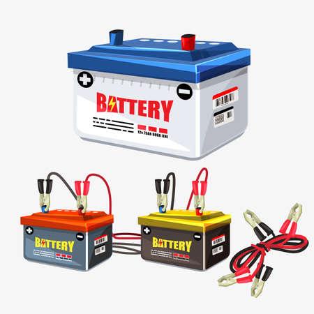 Zestaw baterii samochodowych. Przewód połączeniowy. Dwa kable połączone z zaciskami - ilustracja wektorowa Ilustracje wektorowe