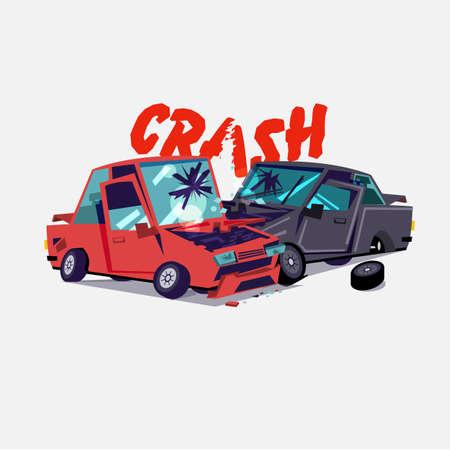 katastrofa samochodowa. wypadek z dwoma uszkodzonymi autami. projekt typograficzny - ilustracja wektorowa