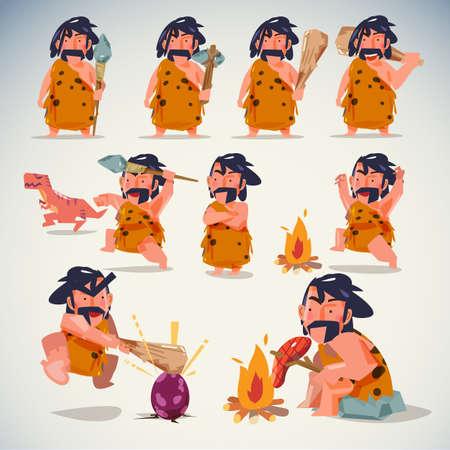 アクションで穴居人。キャラクター デザインを設定します。様々 なポジション。石器時代のコンセプト - ベクトル図