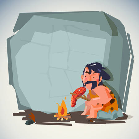 caveman in cave cooking meat food on fire. blank space to fill your text. presentation. stone age concept - vector illustration