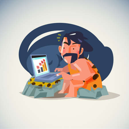 caveman working with laptop - vector illustration Ilustracja