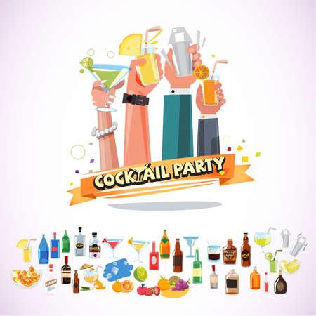 Handen met verschillende glazen coctails met lint. cocktail paty concept met icon set - vectorillustratie