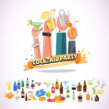 Hands holding various glasses of coctails with ribbon. cocktail paty concept with icon set - vector illustration
