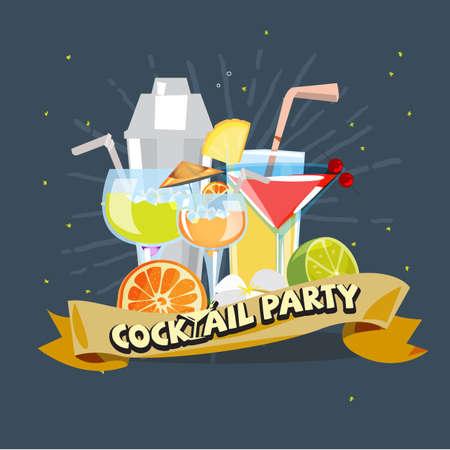 coctail coccept, glazen cocktail en shaker met cocktail party label - vectorillustratie