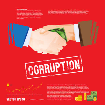 handshake with money. corruption concept - vector illustration Illustration