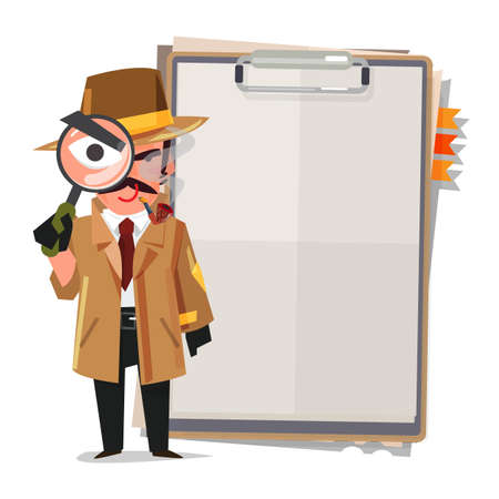 Detective character with empty paperboard  - vector illustration Illustration