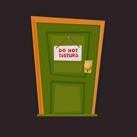 Niet storen! teken opknoping met deur - vectorillustratie Stock Illustratie