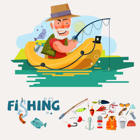 fisherman fishing on the boat with fishing equipment. fishery icon set. graphic element. typographic design .character design. - vector illustration- vector illustration