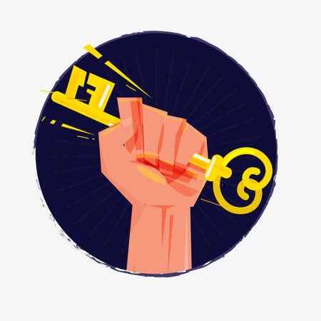 Puño mano con llave. poder del éxito o concepto de entrada - ilustración vectorial Foto de archivo - 85613050