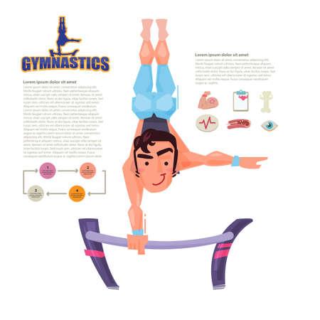 Mannelijke turner die op de gymnastiek- bars presteert karakterontwerp. voordelen pictogram. infographic - vectorillustratie