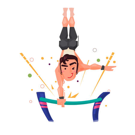 Male gymnast performing on the gymnastic bars.character design - vector illustartion Imagens - 85613056
