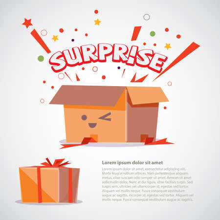 cardboard box with surprise text design. character design - vector illustration