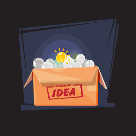 light bulbs in paper box : turn on big light bulbs in front of turn off bulbs. idea or inspiration. outstanding concept - vector illustration