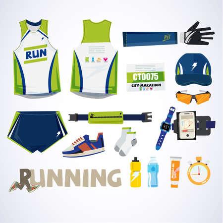 running kit element with typographic for header design. sport concept - vector illustration Illustration
