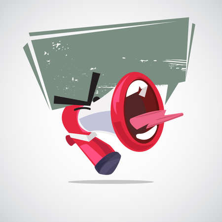 yelling out megaphone character design with speech bubble. attention concept - vector illustration Çizim