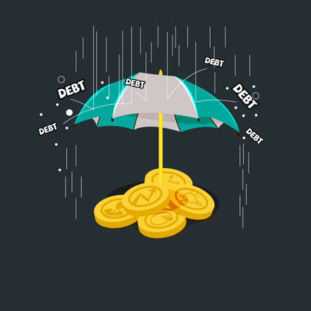ビジネスおよび創造性の傘の下のアイコンでお金です。債務保護コンセプト - ベクトル図
