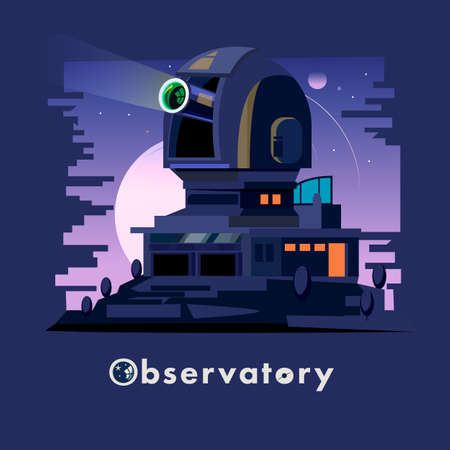 Observatory dome and station on the night clear sky. Astronomical Observatory - vector illustration Illustration