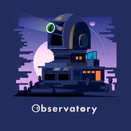 Waarnemingscentrumkoepel en post op de nacht duidelijke hemel. Astronomisch Observatorium - vectorillustratie