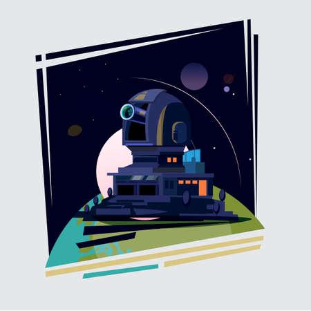 Observatorium koepel en station op de aarde. Astronomisch Observatorium - vectorillustratie Stock Illustratie