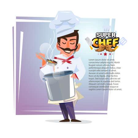 음식을 시음하는 그의 손에 냄비와 요리사.