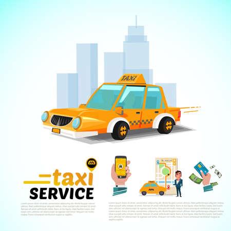도시 공공 택시 서비스 애플 리 케이 션 개념에서 택시 자동차. 일러스트