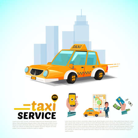 Taxiauto in het concept van de stads taxidienst apps.