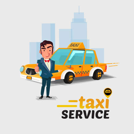 Taxi car and driver in action taxi concept. Иллюстрация