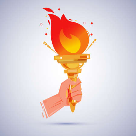 Hand with flaming torch victory and honor.