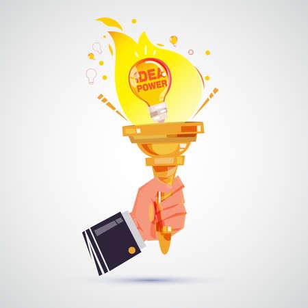 アイデアの発想力を電球のトーチを握っている手。