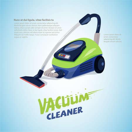 掃除機ヘッダー デザインのタイポグラフィ。