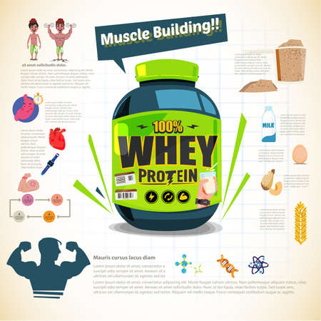 A big tub of whey protein for body building sport nutrition illustration.