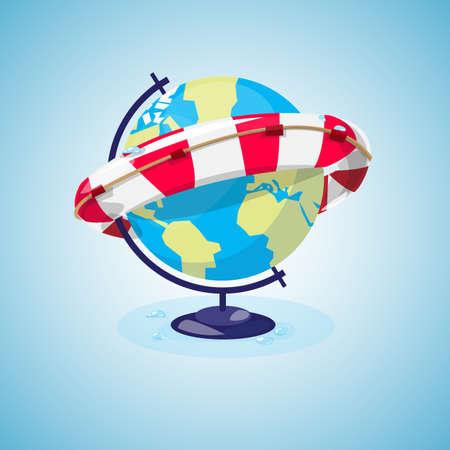 글로브 및 lifebuoy 링은 세계 개념을 저장합니다.