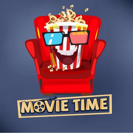 소파에 앉아 영화를보고 팝콘 문자 디자인. 일러스트