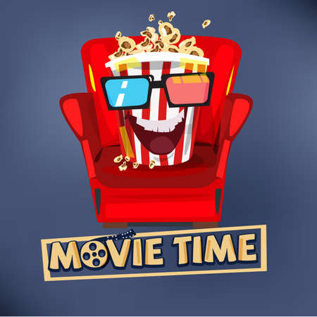 Popcorn character design sitting on sofa and watching movie.