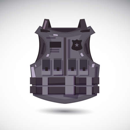Bullet proof vest body armor suit illustration. Çizim