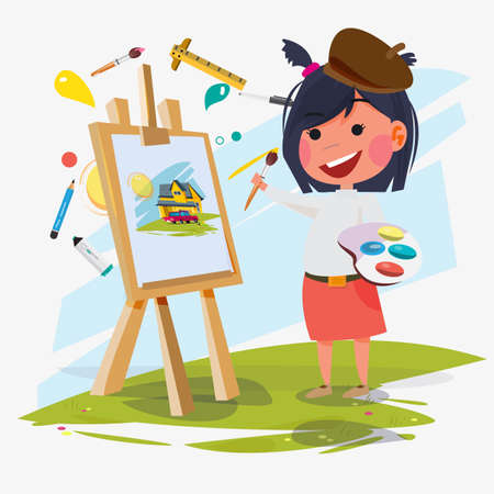 Girl painter with canvas icon. Çizim