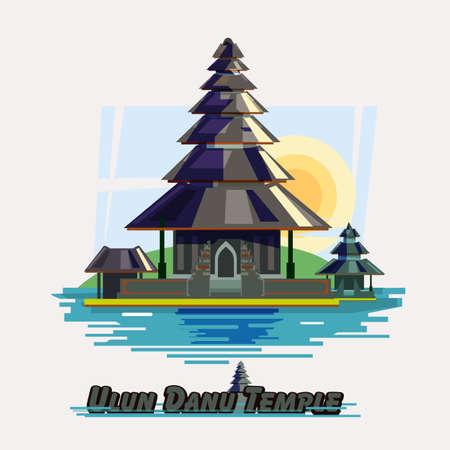 The Ulun Danau Temple illustration. 向量圖像