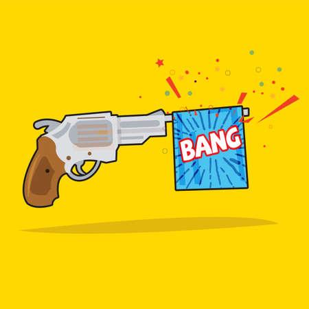 Toy gun with bang flag surprise concept illustration. Illustration