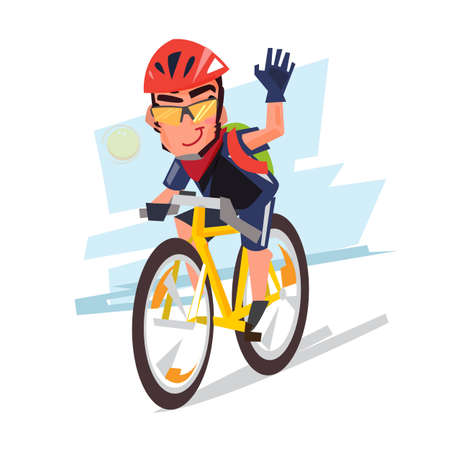 Young bicyclist man with bike sport concept illustration. Çizim